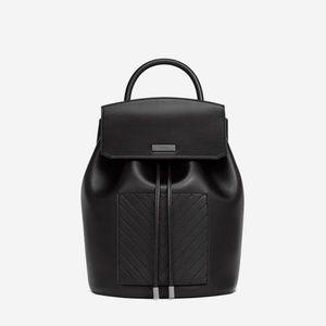 JW Drawstring Backpack Black Vegan Leather